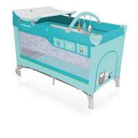 Baby Design Dream 05 turquoise 2018 - Patut pliabil cu 2 nivele