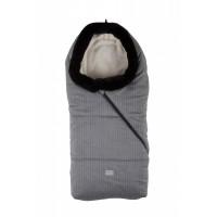 Pop sac de iarna 100 cm - Pinstripe Light Grey/Beige cu guler de blana - 9635