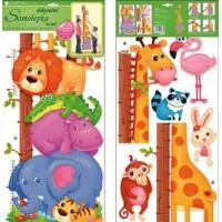 Sticker de perete cu masurator inaltime - animale 70x32cm