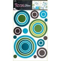 Sticker de perete - cercuri colorate 69x42cm