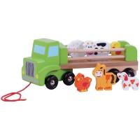 Camion din lemn cu animale Ferma