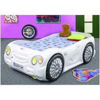 Pat masina copii Sleep Car - Alb